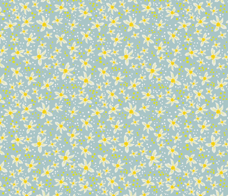 Lemon blossoms with white and yellow dots fabric by chantelmccabe on Spoonflower - custom fabric