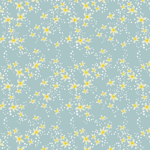Sparsely scattered lemon blossoms with white dots