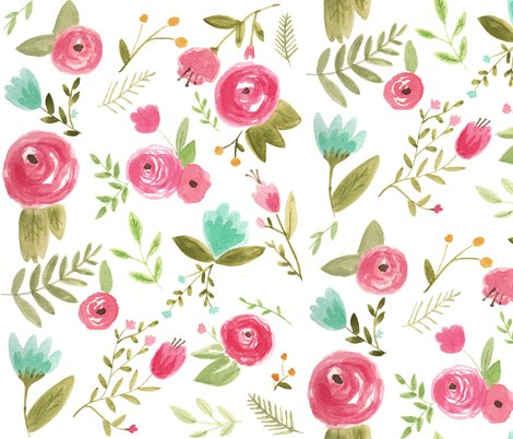 Happy Floral Fabric Pacemadedesigns Spoonflower