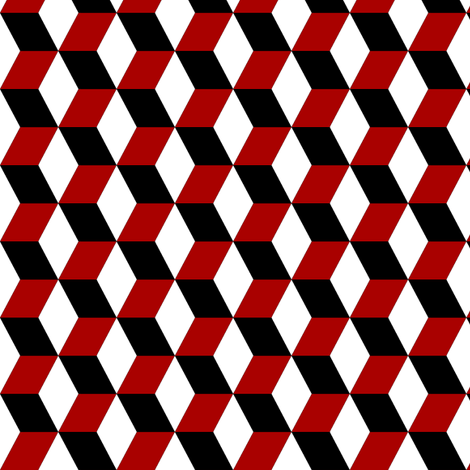 Red, white, and Black Cubes fabric by onestitchdesigns on Spoonflower - custom fabric