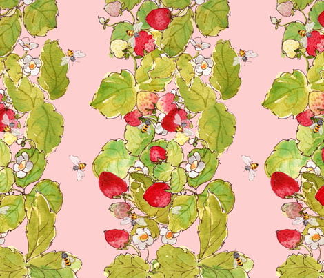 Strawberry Patch with Bees fabric by anntuck on Spoonflower - custom fabric