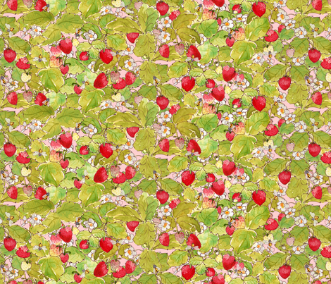 Strawberries and Bees fabric by anntuck on Spoonflower - custom fabric