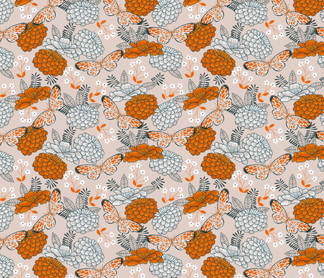 Small Butterfly Floral Natural fabric by cjldesigns on Spoonflower - custom fabric