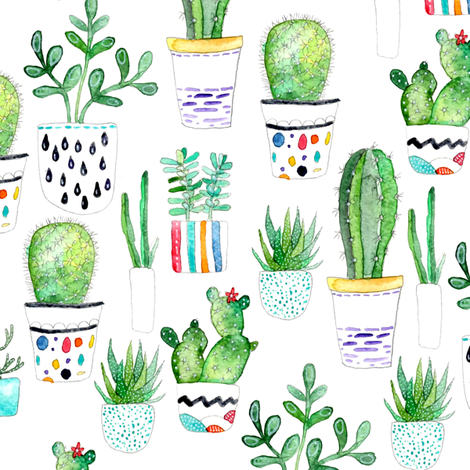 Watercolour Succulents, Cactus fabric by emeryallardsmith on Spoonflower - custom fabric