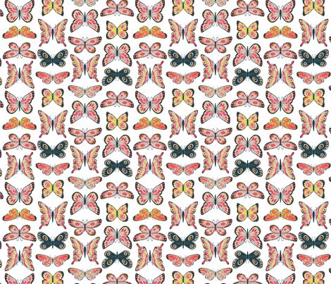 Painted Butterflies Smaller Scale fabric by cjldesigns on Spoonflower - custom fabric