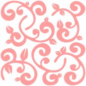Pink Coral Floral Vines