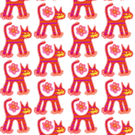 Pink Posey Pussy Cats fabric by eve_catt_art on Spoonflower - custom fabric