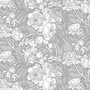 Nouveau Peony, Grey & White