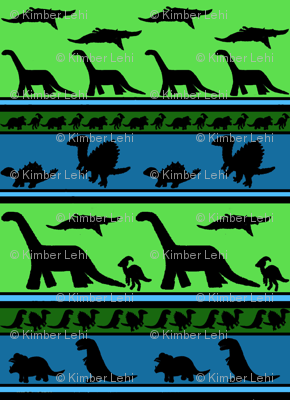 Dinosaur stripes blue green small