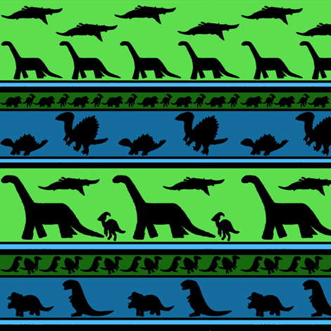 Dinosaur stripes blue green small fabric by kimberlehi on Spoonflower - custom fabric