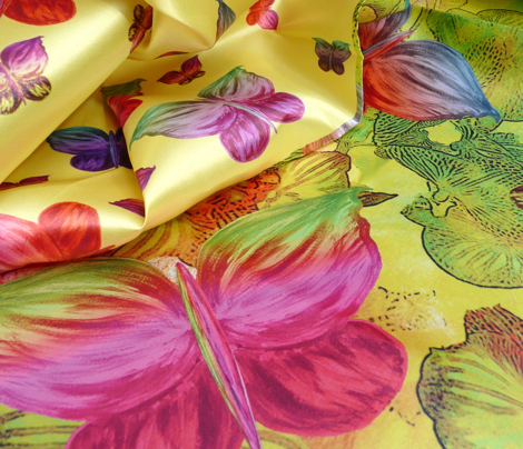 BUTTERFLIES EXOTIC JUNGLE ORCHIS FLOWERS 4 in 1 Yard