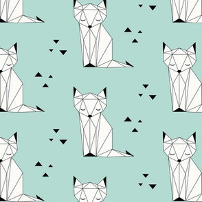 Sleepy Fox - Mint Background