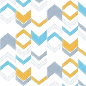 Denim Texture Chevron - Blue and Gold