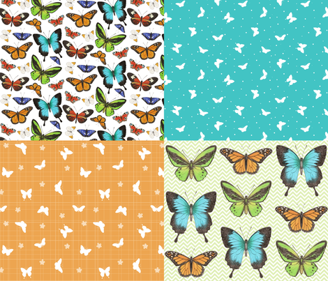 Butterflies Coordinate fabric by hazel_fisher_creations on Spoonflower - custom fabric