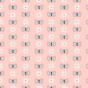 blush butterfly // stripes, butterflies, spring, cute, garden, daisy, floral