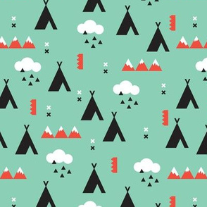 Geometric fall woodland teepee and clouds mountain print in mint and coral