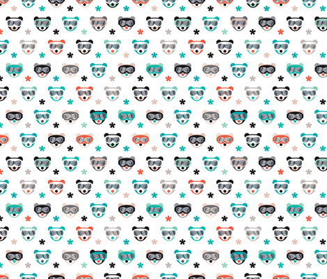 Winter wonderland grizzly bears with snow and ski goggles on winter snowboard adventure gender neutral fabric by littlesmilemakers on Spoonflower - custom fabric