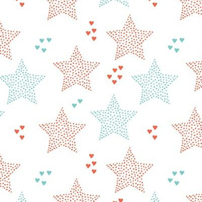 Twinkle twinkle little star cute baby nursery or christmas theme print in coral and blue gender neutral