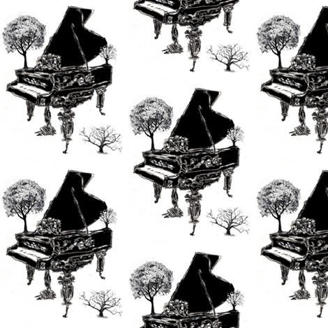 Piano Landscape fabric by craftylittlehouse on Spoonflower - custom fabric