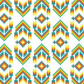 Native American Digital Bead Pattern Turqoise Orange and Solar Yellow