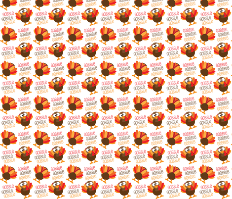 Gobble, Gobble, Gobble Funny Turkey Thanksgiving fabric by furbuddy on Spoonflower - custom fabric
