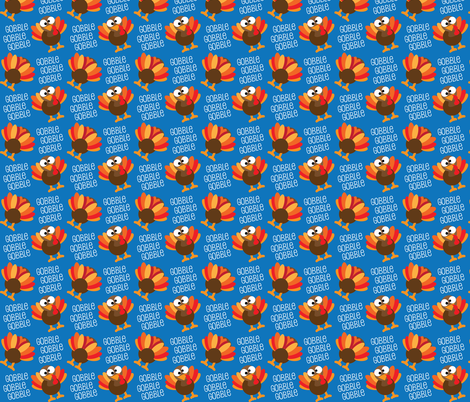 Gobble, Gobble, Gobble Funny Turkey Thanksgiving fabric by khaus on Spoonflower - custom fabric