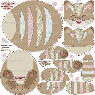 Patchwork Tabby Pin-Cushion