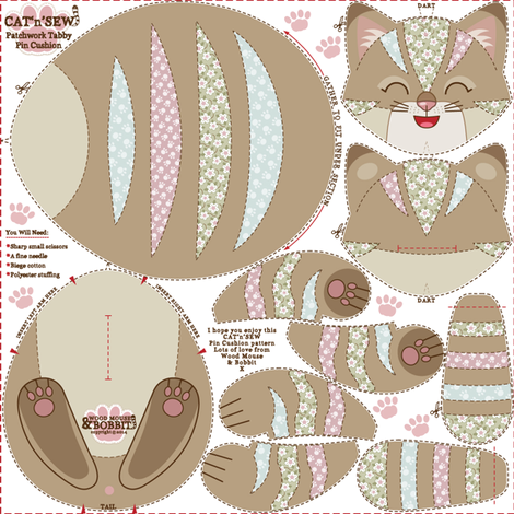 Patchwork Tabby Pin-Cushion fabric by woodmouse&bobbit on Spoonflower - custom fabric