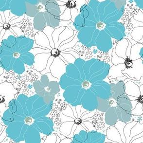 Large Floral Blue