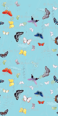Watercolor Butterflies and Wildflowers