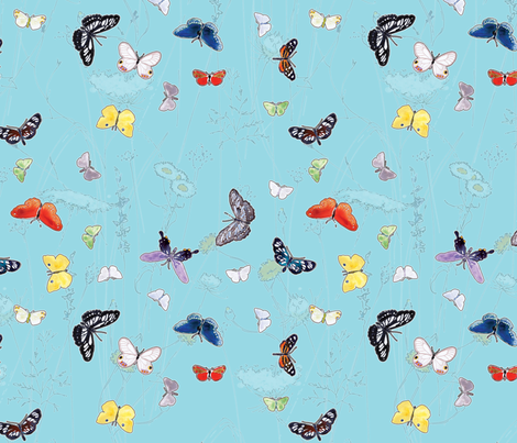 Watercolor Butterflies and Wildflowers fabric by anntuck on Spoonflower - custom fabric