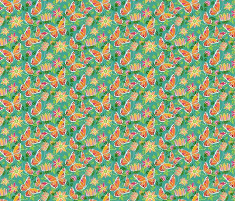 Flying Fancy Butterfly Garden_Focal Small fabric by robinpickens on Spoonflower - custom fabric