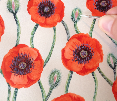 Poppies on Cream