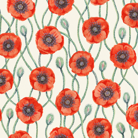 Poppies on Cream fabric by kirsten_sevig on Spoonflower - custom fabric