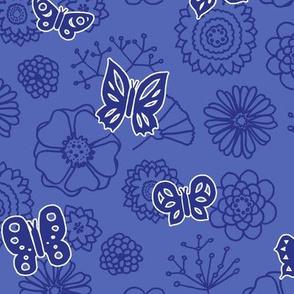 butterflies & flowers blue (06)