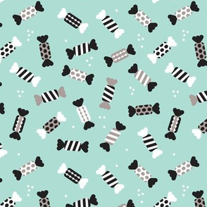 Soft scandinavian pastel party candy sweets for birthday and wedding in mint black and white