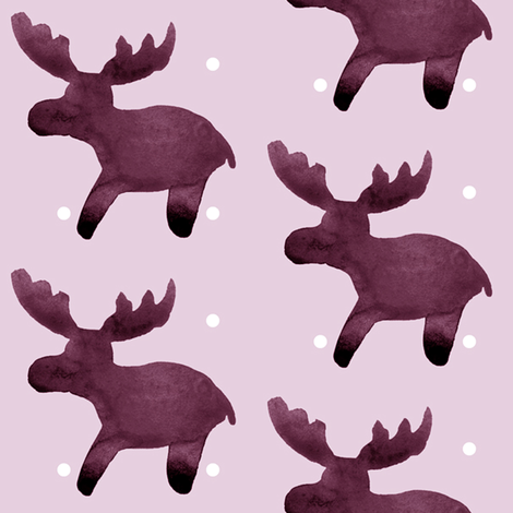 cestlaviv_moose_plum_beanie fabric by @vivsbeautifulmess on Spoonflower - custom fabric