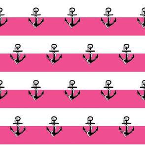 Anchor Stripes -Medium hot pink