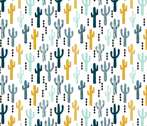 cactus mustard mint navy kids tri minimal white background trendy design for ss16 tropical trendy southwest kids nursery clothing baby decor fabric by charlottewinter on Spoonflower - custom fabric
