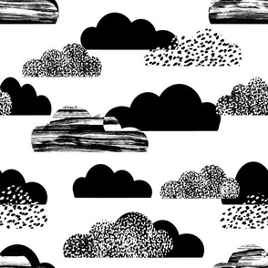 clouds white black