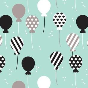 Party balloon fun birthday wedding theme in modern pastel colors mint