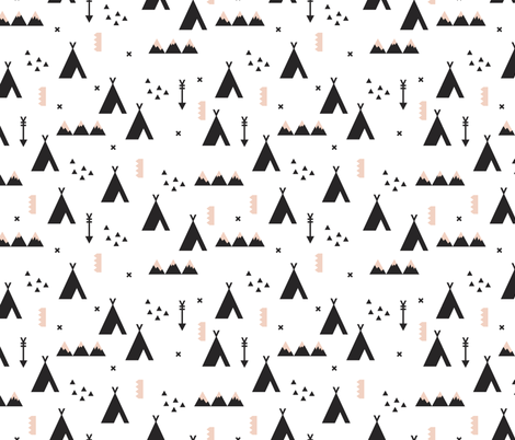 Indian teepee winter woodland with arrow and geometric mountain range and cross details black and white fabric by littlesmilemakers on Spoonflower - custom fabric