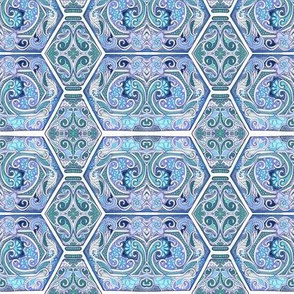 Swirly Tile Victorian Blues
