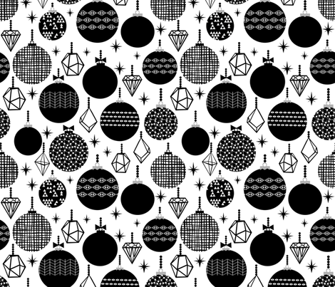 black and white trendy xmas grid holiday ornaments kiddo scandi black and white style fabric by charlottewinter on Spoonflower - custom fabric