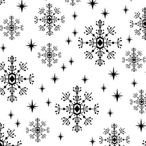 snowflakes black and white minimal geometric christmas holiday winter