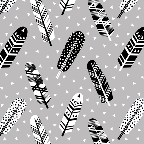 feather grey fabric by charlottewinter on Spoonflower - custom fabric