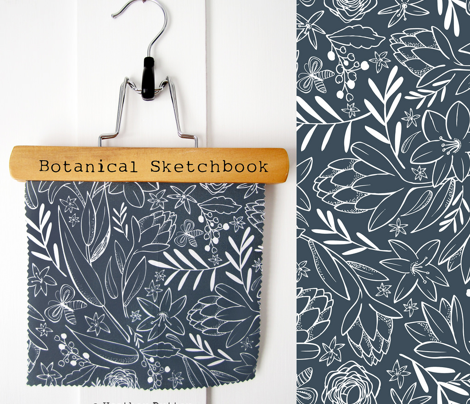 Botanical Sketchbook - Floral Midnight Blue