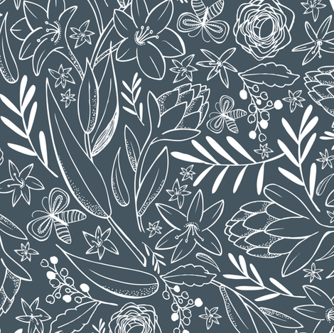 Botanical Sketchbook - Floral Midnight Blue fabric by heatherdutton on Spoonflower - custom fabric