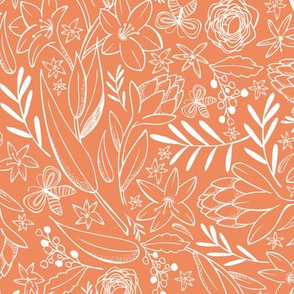 Botanical Sketchbook - Floral Orange Sunset