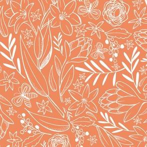 Botanical Sketchbook - Floral Orange Sunset